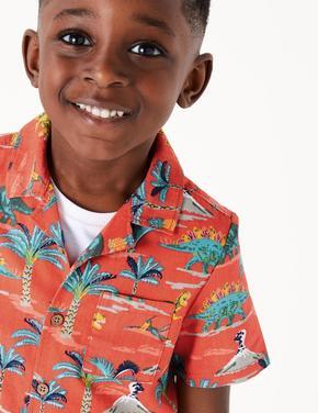 Erkek Çocuk Kırmızı Dinozor Desenli Gömlek