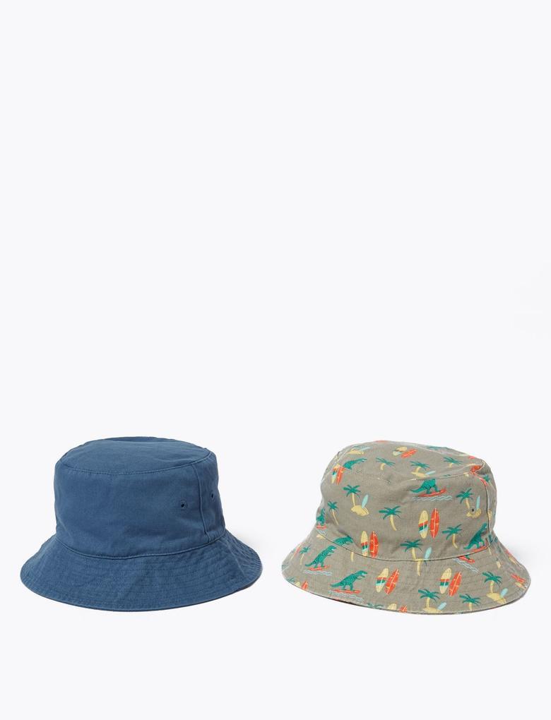 Çocuk Mavi 2'li Dinozor Desenli Şapka Seti