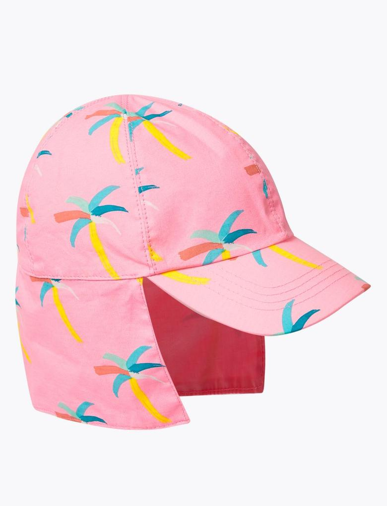 Çocuk Pembe Palmiye Ağacı Desenli Şapka