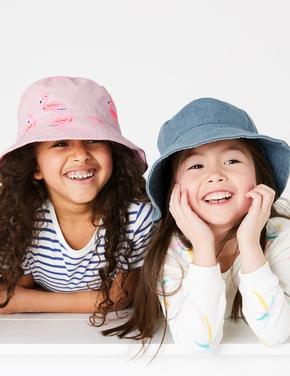 Çocuk Pembe 2'li Flamingo Desenli Şapka