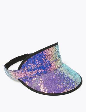 Çocuk Mor Pullu Güneşlik Şapka