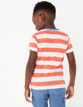 Erkek Çocuk Pembe Saf Pamuklu Çizgili T-Shirt