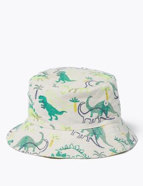 Çocuk Yeşil 2'li Dinozor Desenli Şapka Seti