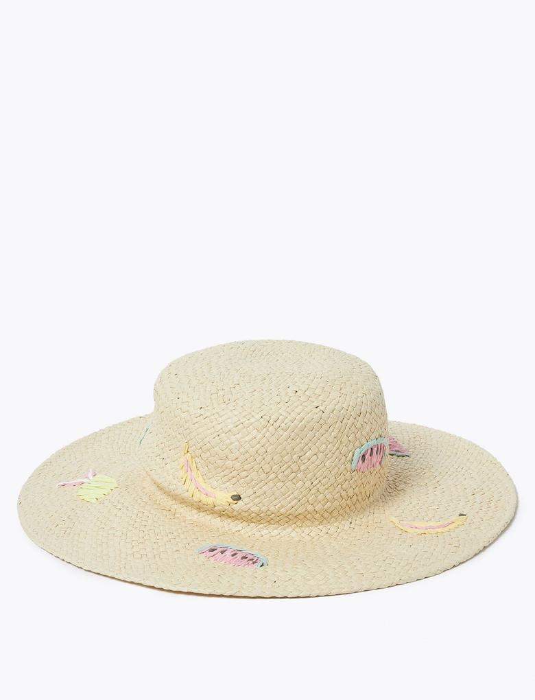 Çocuk Multi Renk Meyve Desenli Hasır Şapka