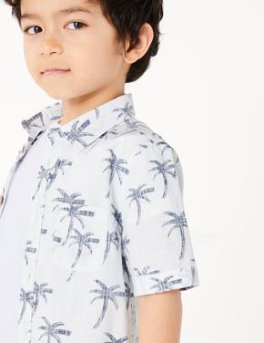 Erkek Çocuk Beyaz Desenli Kısa Kollu Gömlek
