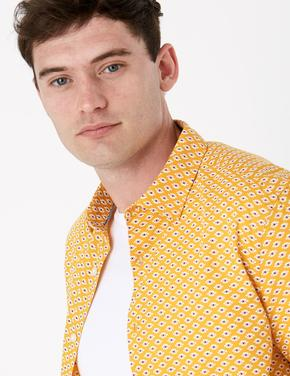 Erkek Sarı Saf Pamuklu Geometrik Desenli Gömlek