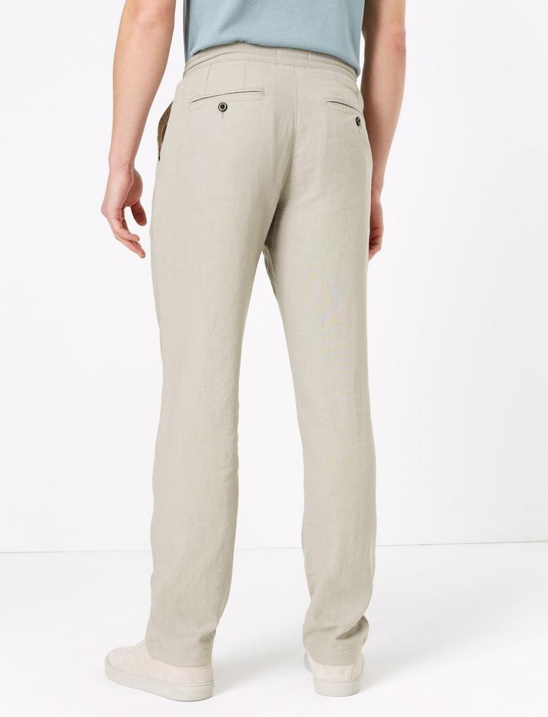 Gri Keten Regular Fit Pantolon