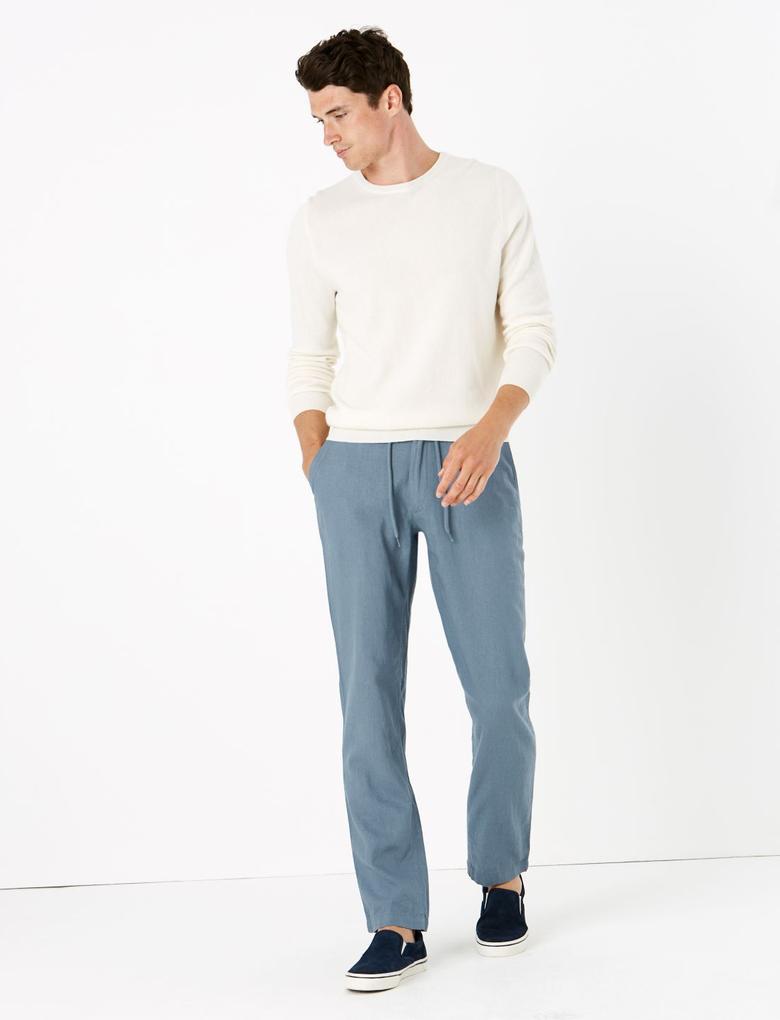 Mavi Keten Regular Fit Pantolon
