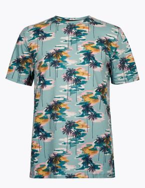 Mavi Desenli Basic T-Shirt