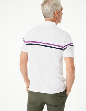 Erkek Beyaz Çizgili Polo Yaka T-Shirt