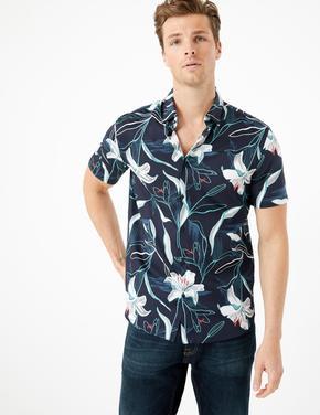Erkek Lacivert Saf Pamuklu Çiçek Desenli Gömlek