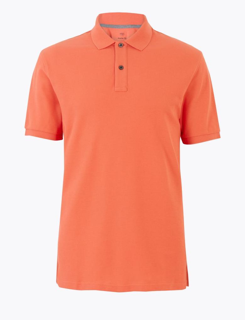 Turuncu Polo Yaka Kısa Kollu T-Shirt