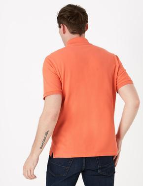 Turuncu Saf Pamuklu Polo Yaka T-Shirt