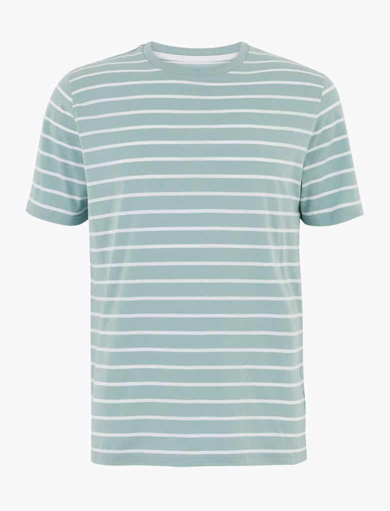 Yeşil Saf Pamuklu Çizgili T-Shirt
