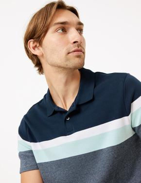 Erkek Yeşil Çizgili Polo Yaka T-shirt