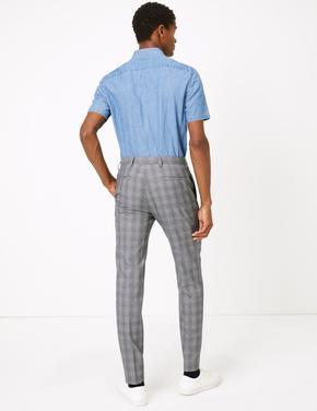 Gri Ekose Skinny Fit Pantolon