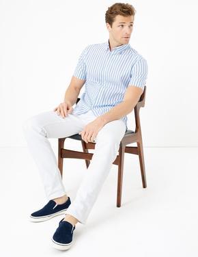 Erkek Mavi Saf Pamuklu Çizgili Gömlek