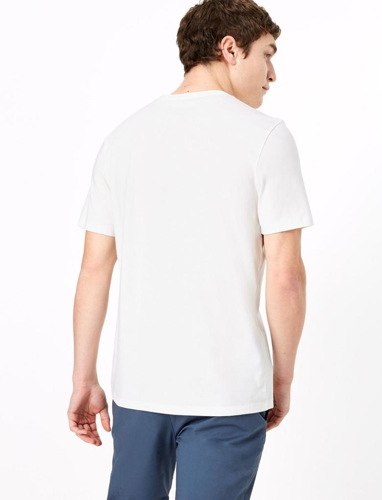 Krem Saf Pamuklu Grafik Desenli T-Shirt
