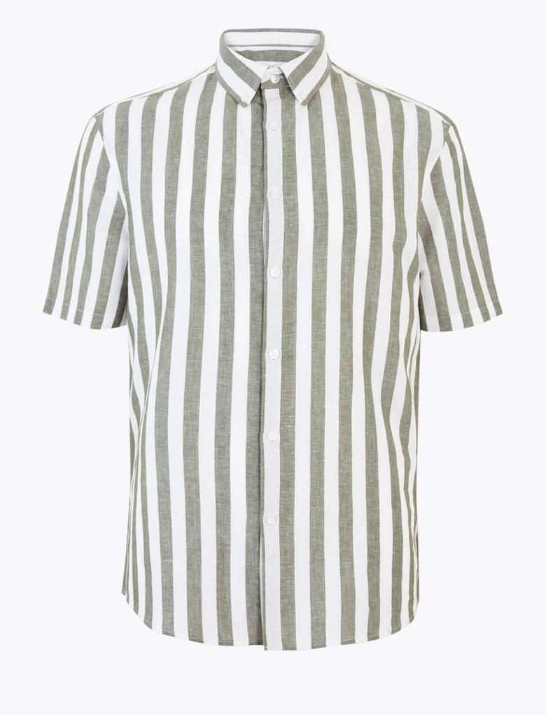 Erkek Yeşil Çizgili Keten Kolay Ütülenebilir Gömlek