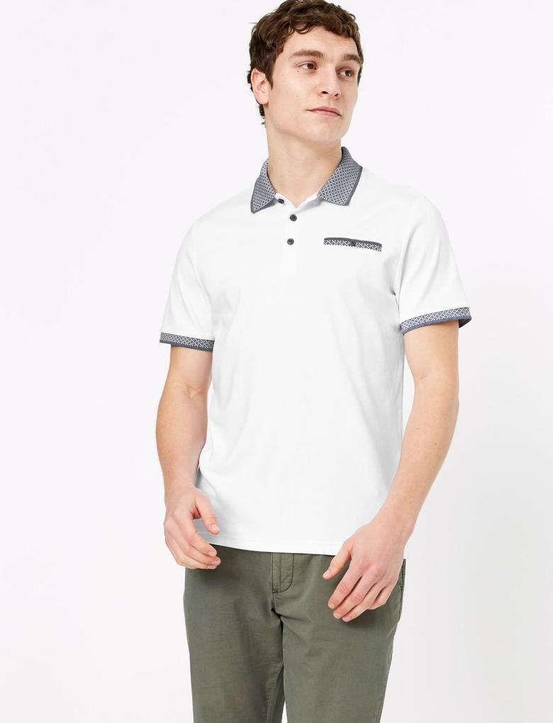 Beyaz Saf Pamuklu Polo Yaka T-Shirt