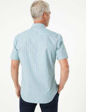 Erkek Yeşil Saf Pamuklu Çizgili Gömlek