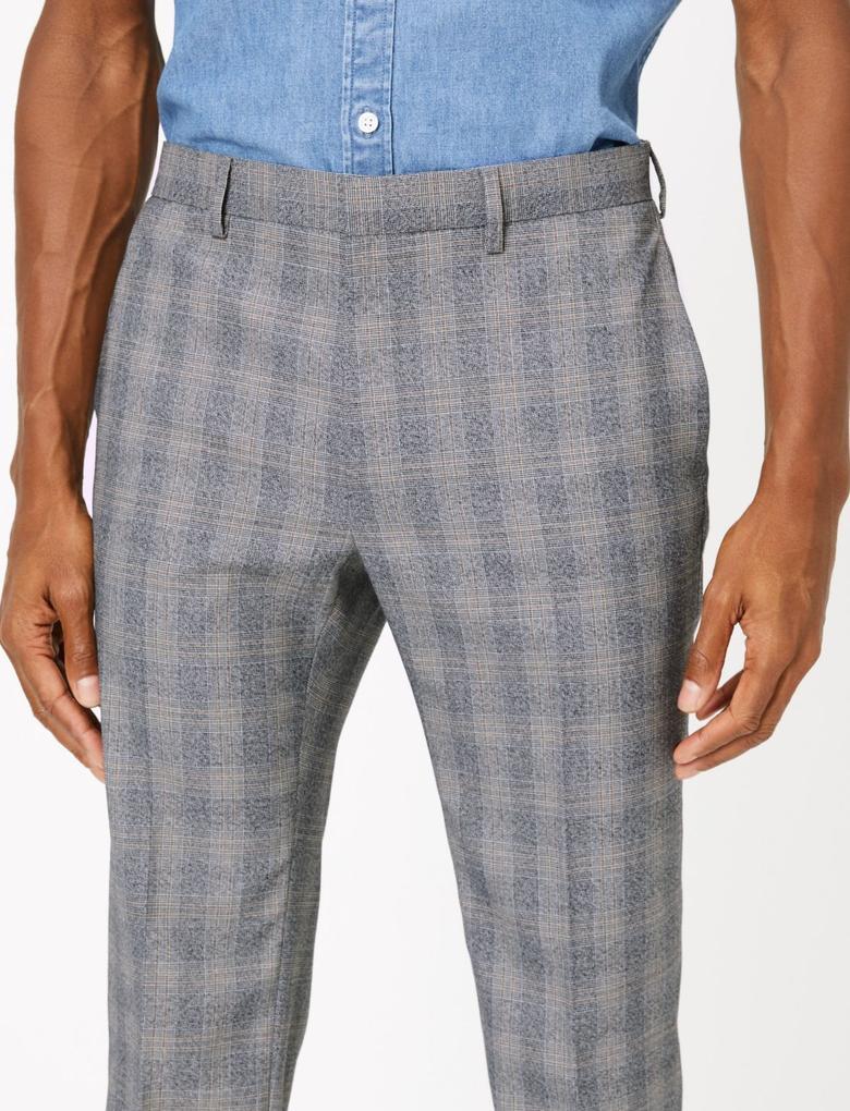 Erkek Gri Ekose Skinny Fit Pantolon