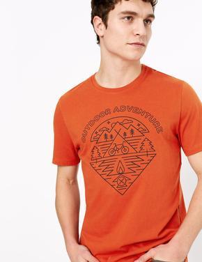 Erkek Turuncu Saf Pamuklu Grafik Desenli T-Shirt