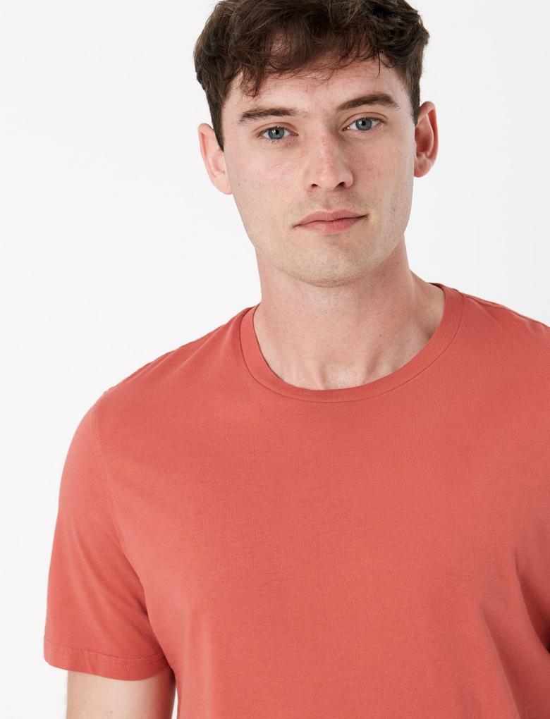 Kırmızı Saf Pamuklu Yuvarlak Yaka T-shirt