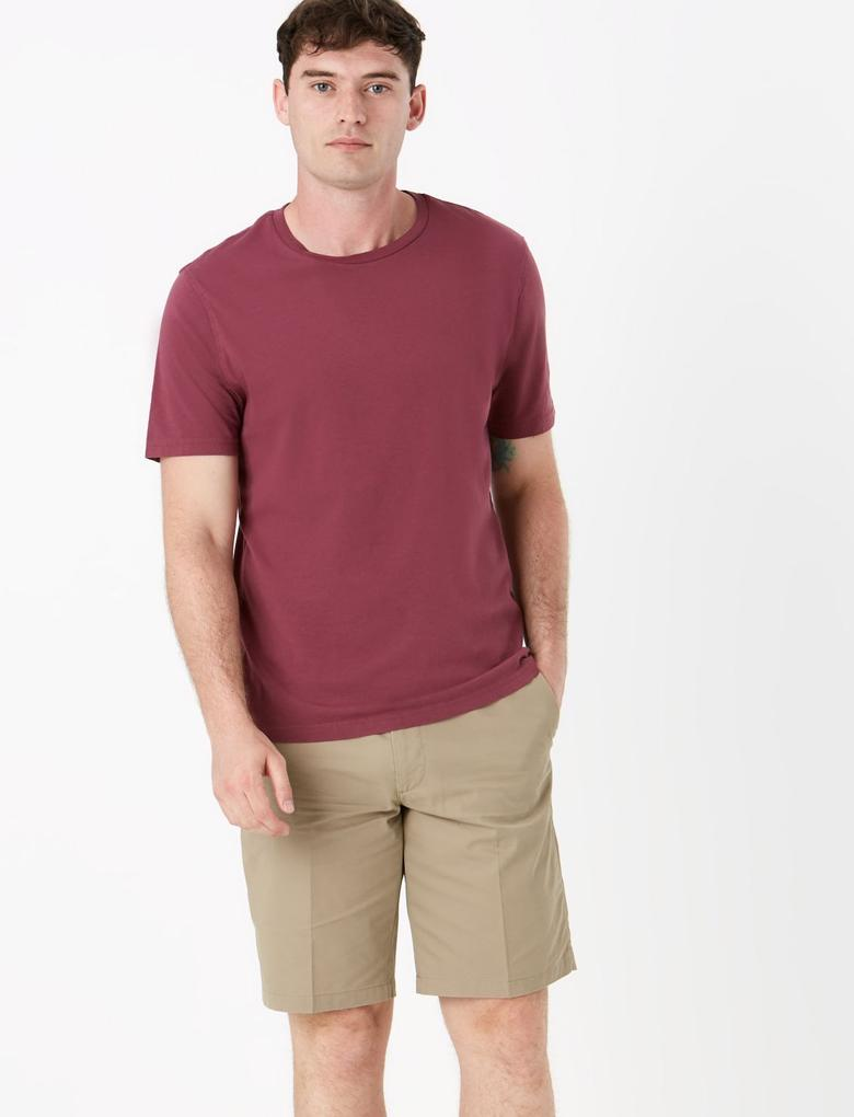 Pembe Saf Pamuklu Yuvarlak Yaka T-shirt
