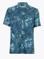 Erkek Yeşil Kısa Kollu Desenli Gömlek