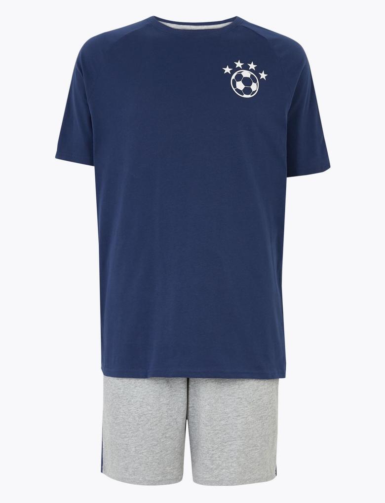Erkek Lacivert Futbol Pijama Takımı
