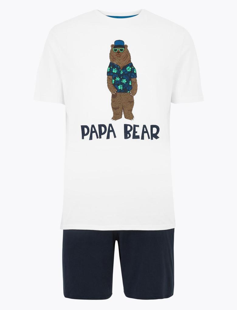 Erkek Beyaz Baskılı Pijama Takım