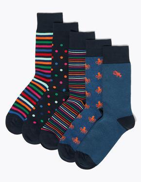 Erkek Mavi 5'li Cool&Fresh Çorap Seti