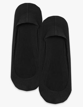 Kadın Siyah 2'li Pamuklu Babet Çorap Seti