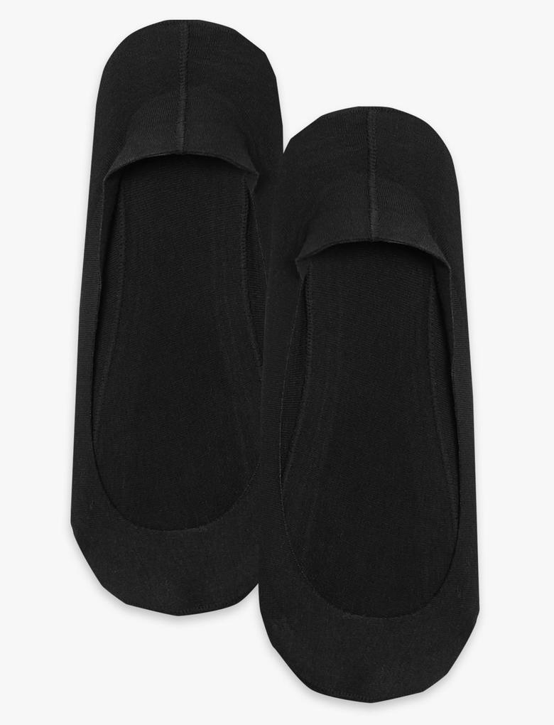 Siyah 2'li Pamuklu Babet Çorap Seti