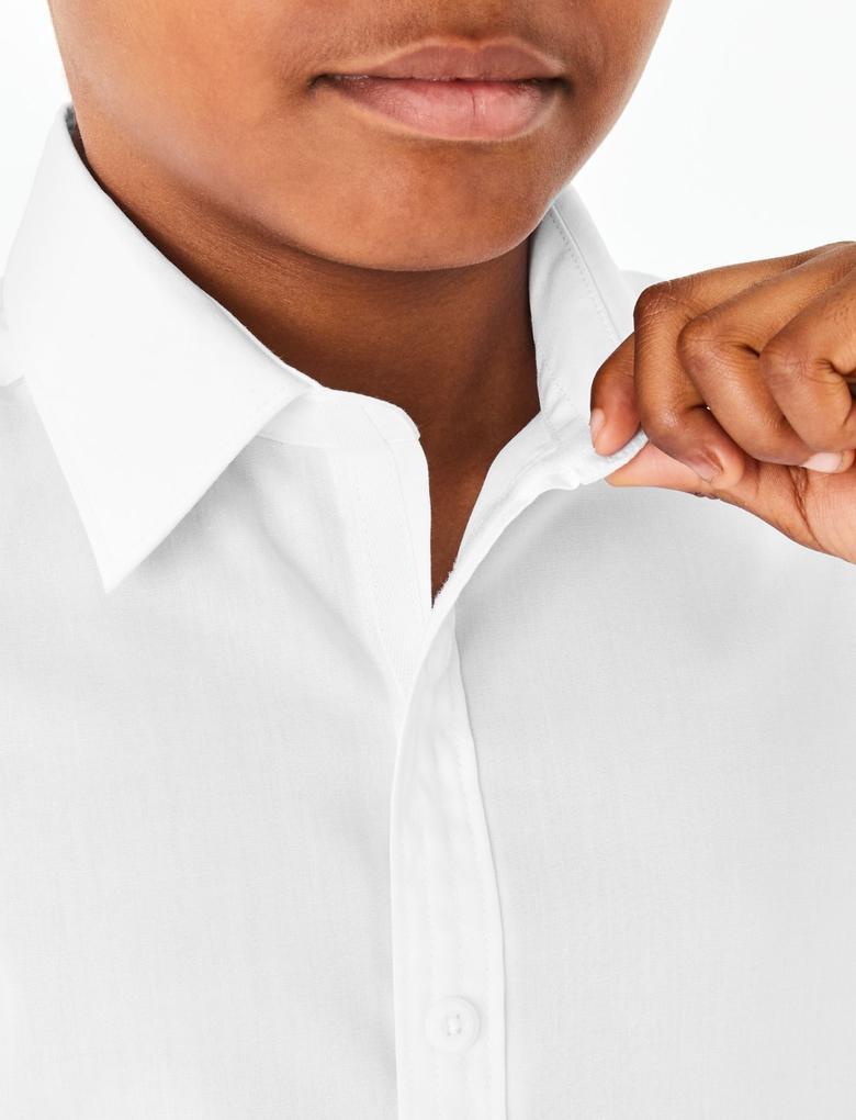 Çocuk Beyaz 2'li Ütü Gerektirmeyen Slim Fit Gömlek Seti