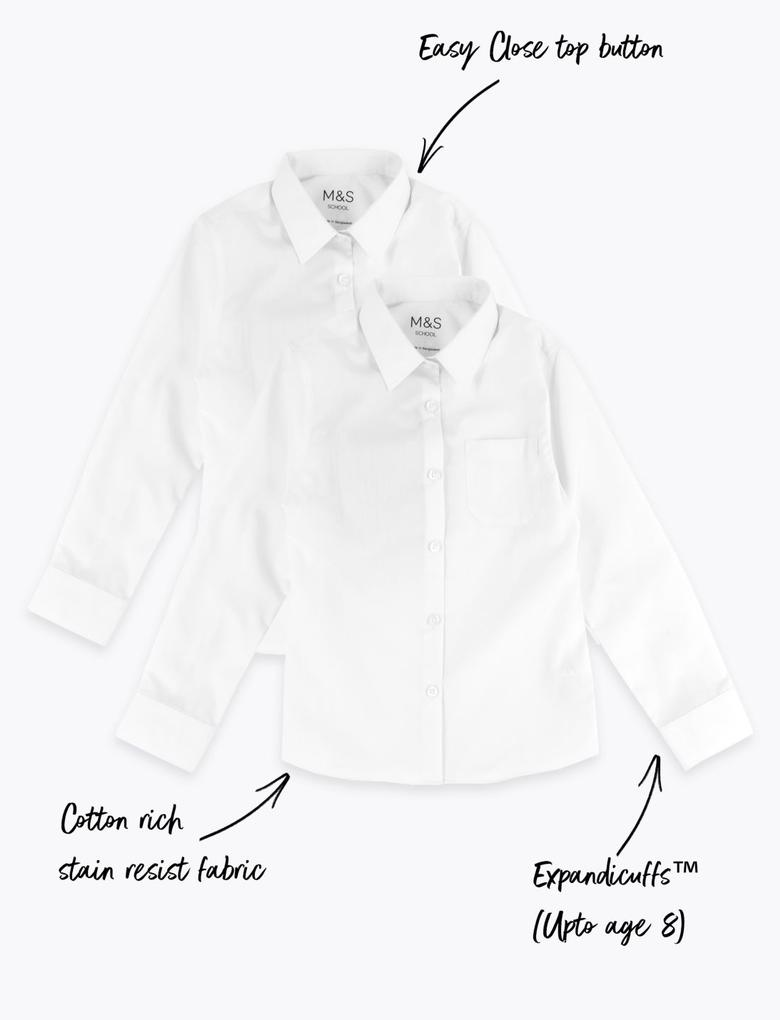 Çocuk Beyaz 2'li Ütü Gerektirmeyen Gömlek Seti