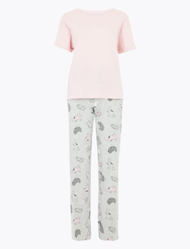 Kadın Pembe Kedi Desenli Pijama Takımı