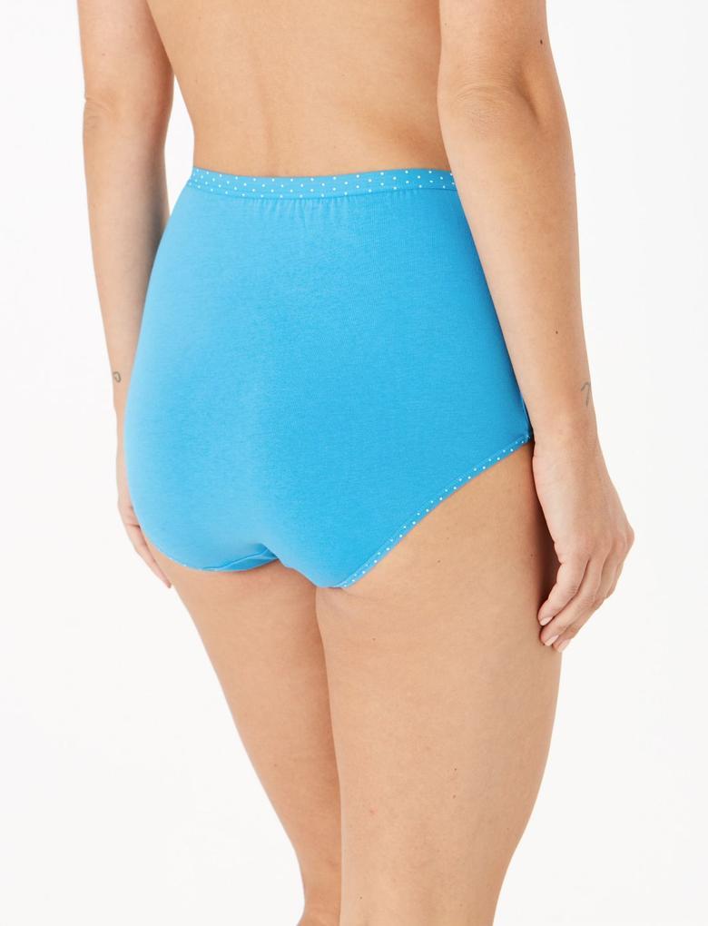 Kadın Mavi 5'li Lycra® Full Brief Külot Seti