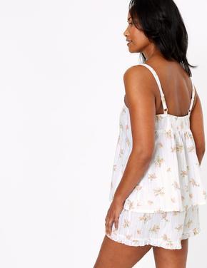 Kadın Beyaz Çiçek Desenli Şort Pijama
