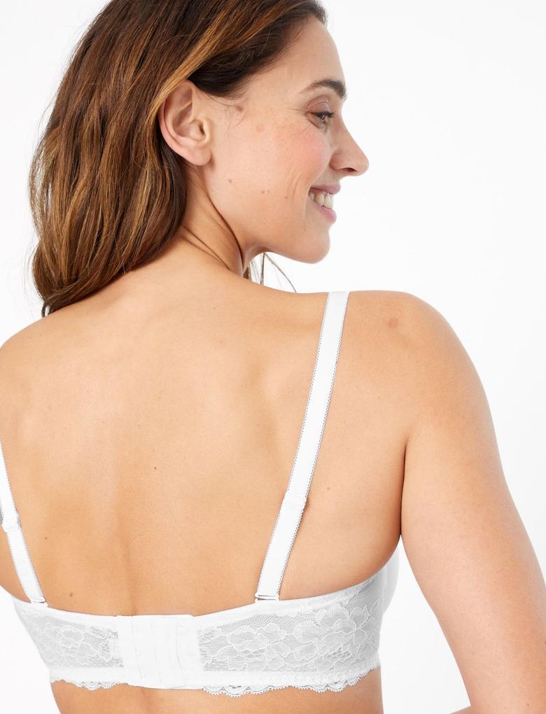 Kadın Beyaz 2'li Desteksiz Straplez Sütyen Seti
