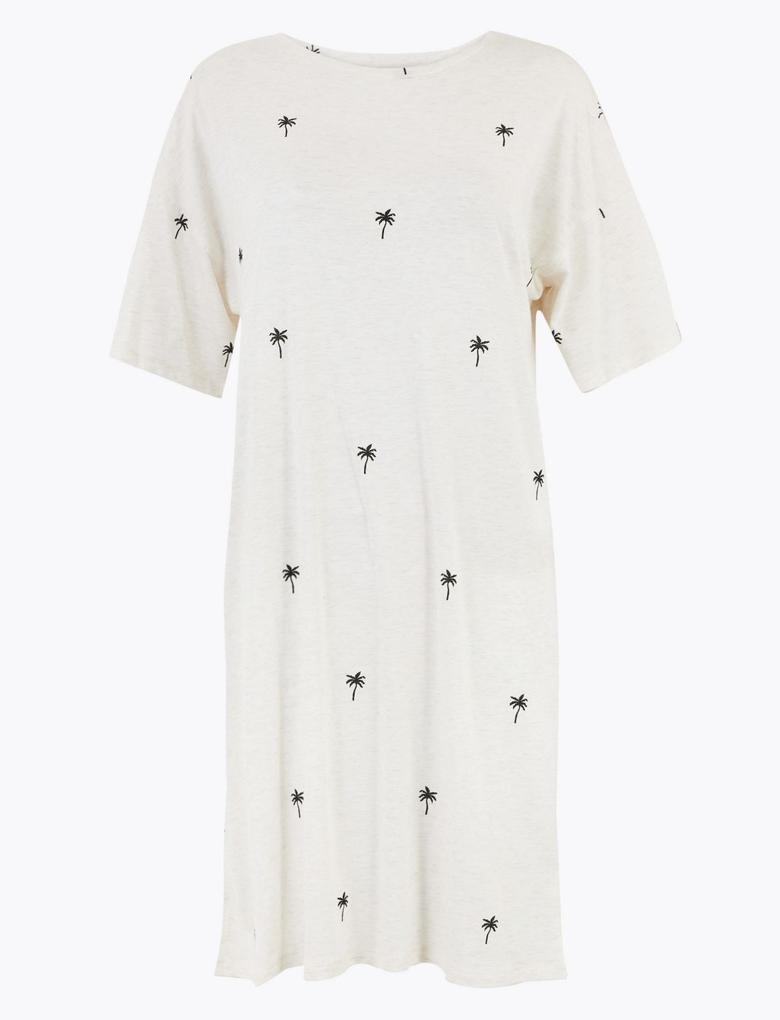Kadın Bej Cool Comfort™ Palmiye Ağacı Desenli Gecelik