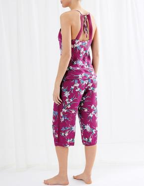 Kadın Mor Crop Pijama Takımı