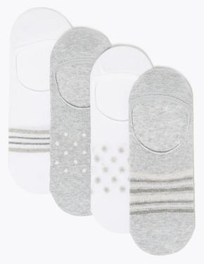 Kadın Gri 4'lü Babet Çorabı Seti