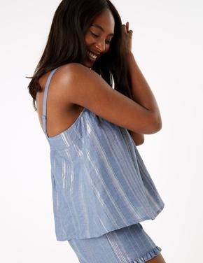 Kadın Mavi Çizgili Şort Pijama