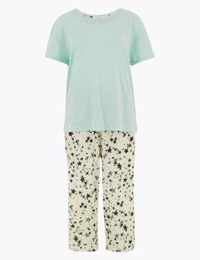 Kadın Yeşil Yıldız Desenli Crop Pijama Takımı