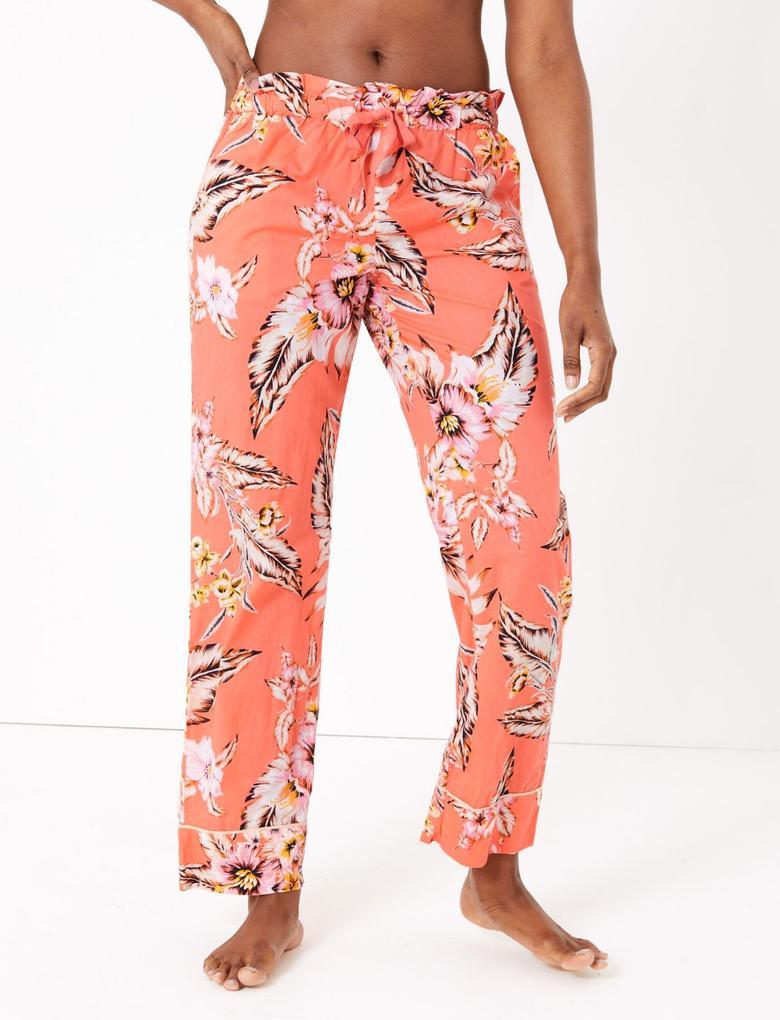 Kadın Turuncu Tropikal Desenli Pijama Altı