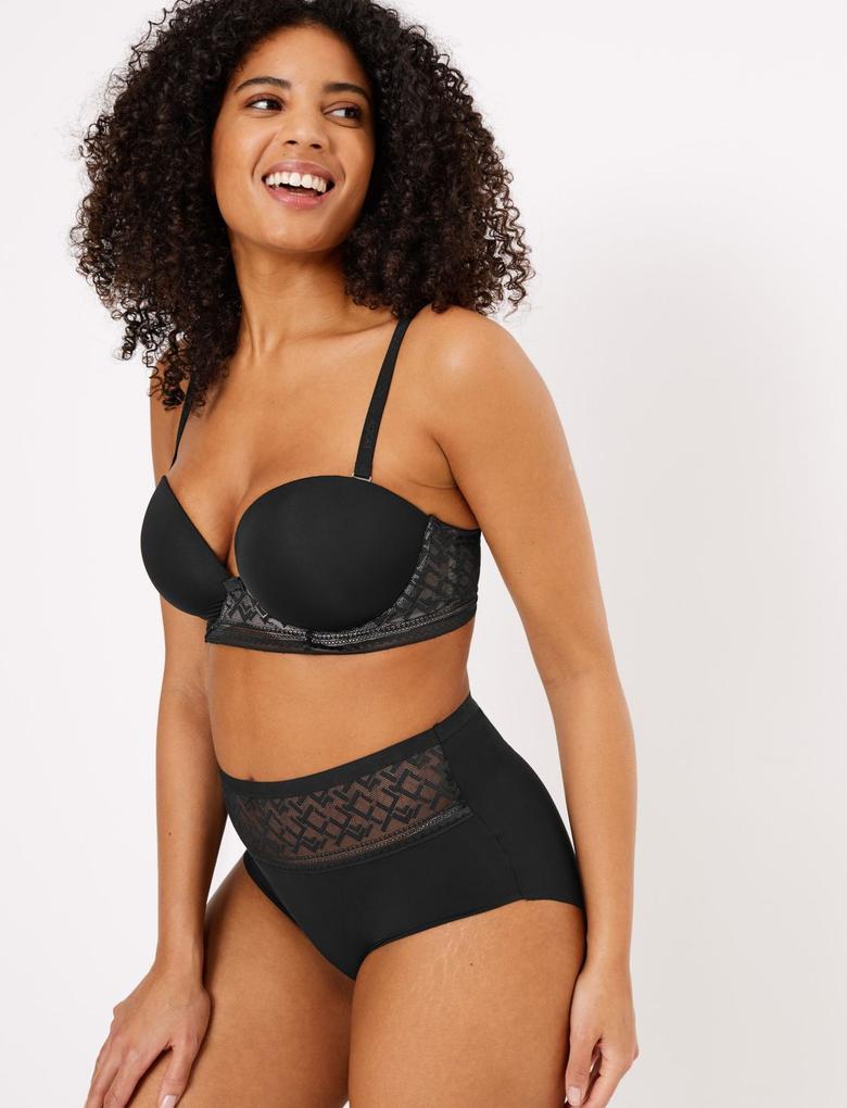 Kadın Siyah Body™ Destekli Plunge Straplez Sütyen