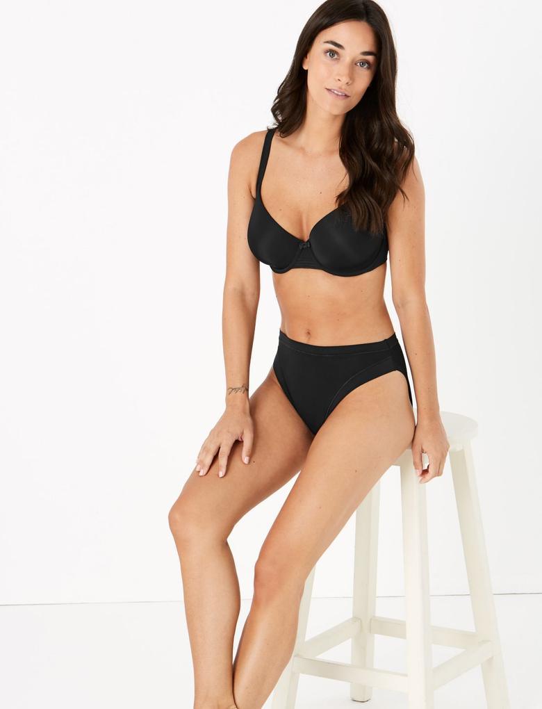 Kadın Siyah Flexifit™ Modal High Leg Külot