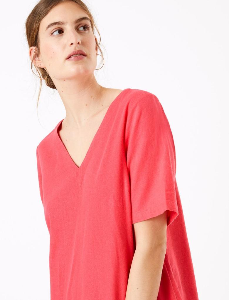 Kadın Kırmızı Keten Midi Shift Elbise